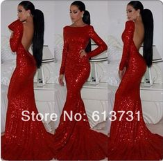 2014 New Fashion Sparkly High Neck Sequined Mermaid Red Prom Dresses Long Sleeves Sexy Long Formal Evening Gown