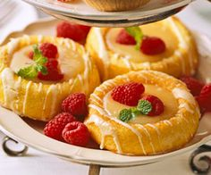 Easy Lemon Tarts - lemon curd and sponge cake are made for each other--even when both come ready-made.