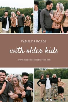 With Older Kids - WildFire Breaking Free Family Photos What To Wear, Large Family Photos, Fall Family Pictures, Older Family Photos, Family Pics, Fall Photos, Fall Family Photo Outfits, My Family Photo, Family Picture Poses