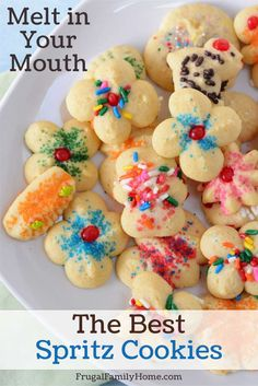 Make your own perfect spritz cookies with this tried and true recipe. It's one my grandma used to make. Come see how easy these are to make. Best Spritz Cookie Recipe, Butter Spritz Cookies, Delicious Cookie Recipes, Butter Cookies Recipe, Best Cookie Recipes, Jelly Cookies, Yummy Cookies, Electric Cookie Press, Chocolate No Bake Cookies