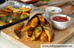 Crispy, oven baked potato wedges with olive oil & spices - good side dish!