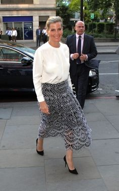 The Countess of Wessex was dressed in a midi length Oscar de la Renta skirt and Emilia Wickstead blouse.