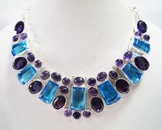 Genuine Amethyst Blue Quartz necklace/ handmade by Mpoulitsa Quartz Necklace, Gemstone Necklace, Handmade Necklaces, Handmade Items, Handmade Gifts, My Etsy Shop, Shop My, Amethyst Quartz, Vintage Antiques