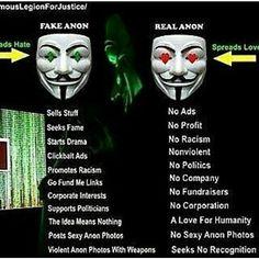 """Anonymous Stärke ist die sogenannte """"Crowd"""" - Und auch das eigentliche Ziel und der Faden, der Anons verbindet. Als Präsident des Neulandes sehe """"Fake Anon Erkennungsregeln"""" genauso wie """"Anonregeln"""" eben als Regeln an. Und Anonymous have no Rules, cause we are you. Ja, die Regeln zählen dennoch. Ich mein nur, wer sich auf das verlässt, gerät in Gefahr, auf die Propaganda der 1% reinzufallen. Man muss den Individuellen Anon hinter Anonymous sehen."""