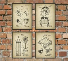 Boxing Patent Prints Set of 4  Boxing Poster  by QuantumPrints