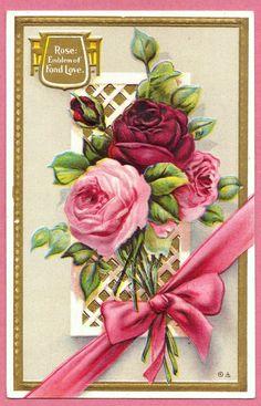 VTG Victorian ROSES EMBLEM OF FOND LOVE Language of Flowers POSTCARD