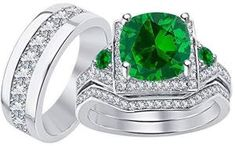 Men & Women's Cushion Cut Green Emerald & CZ Diamond White Gold Plated 925 Sterling Silver Engagement Wedding His & Her Trio Ring Set Mens Emerald Rings, Emerald Gemstone, Rose Gold Diamond Ring, Rose Gold Engagement Ring, Tungsten Wedding Bands, Wedding Rings, May Birthstone Rings, Morganite Ring, Topaz Ring