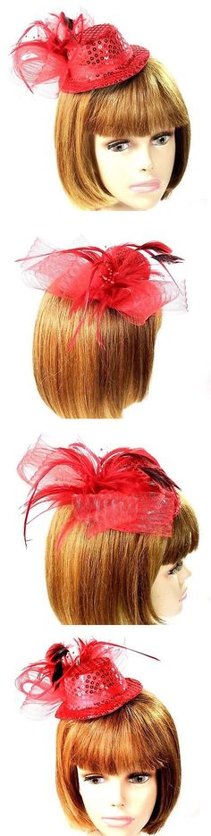 4b8bc50f1b6cf Fascinators and Headpieces 168998: Red Sequin Mini Hat Fascinator Mesh Bow  Pearls Feather Spray Society Ladies -> BUY IT NOW ONLY: $11.99 on #eBay ...
