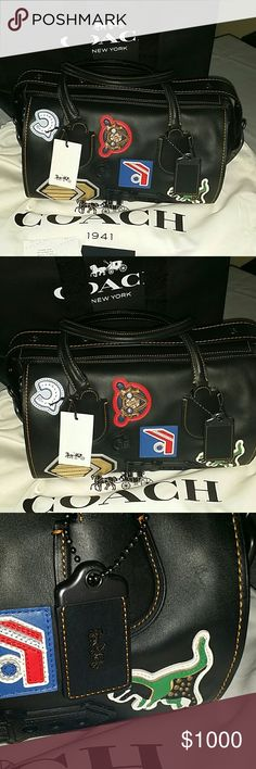 New limited edition Coach Varsity Badlands bag Very limited and amazing Coach Varsity Patch Badlands Sold out worldwide Motorcycle military style leather handbag Comes with dust bag and coach bag and tags This has never been used Has cute patches sewn on Perfect condition 12 x 9 X 8 coach Bags Mini Bags