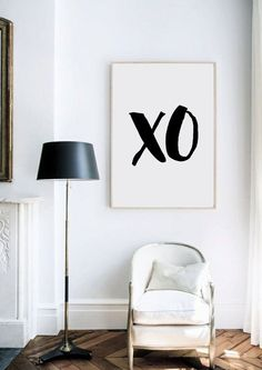 XO Print black and white xo graphic art print by by GorgeousGD