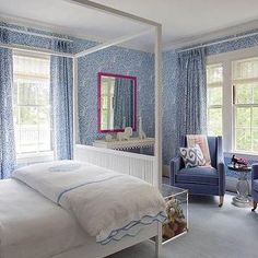 White and Blue Kids Room, Contemporary, girl's room, Liz Caan Interiors