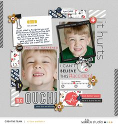 Digital Scrapbooking Inspiration *Ouch!* Journaling: Ouch!  What a tough kid you are!  After hours of playing in the dark at Uncle Vic's house in Auburn, you fell on the front porch.  You hit your face so hard that you gave yourself a swollen and bruised chin and a split lip. Ouch!  Credits: Ouch | Kit Ouch | Journal Cards Ouch | Digital Stamps