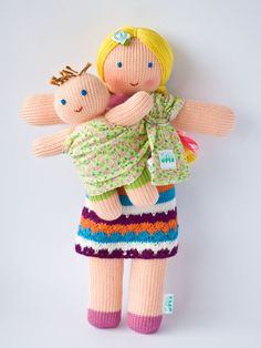 Babywearing Mommy Doll with a Baby Doll - knitted play dolls - eco-friendly, maternity, waldorf, Free Worldwide Shipping. $42,00, via Etsy.