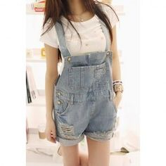 $10.65 Loose Fit Destroyed Denim Cheap Overalls For Women