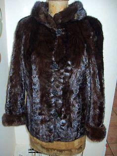 FABULOUS Brown Mahogany Mink Fur Jacket SOLID Chocolate Size Small - Medium