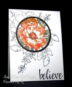 """handmade card for """"Just Us Girls"""" Challenge: spotlight technique ... lovely one layer card ... posey with central flower in the spotlight ..."""