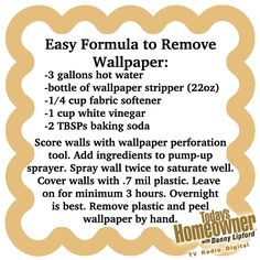 Easy way to remove wallpaper. Peels off by hand if you leave the plastic on