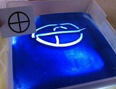 Sand on light-box. Great sensory idea.