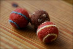 Wet- and dry-felted wool balls