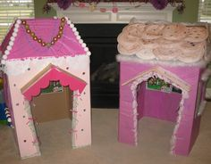 Lalaloopsy play houses out of cardboard boxes! Diy Projects To Try, Crafts To Do, Crafts For Kids, Paper Crafts, Cardboard Castle, Cardboard Boxes, Doll Houses, Play Houses, Diy Birthday