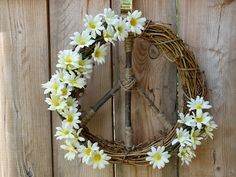 Daisy Natural Grapevine Peace Sign Wreath / by ArtfullyYours1973