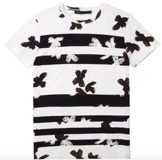MbMJ Painted Flower Patchwork Tee in White Multi
