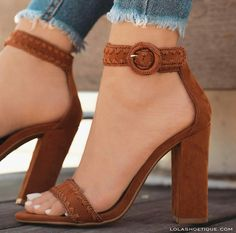 You can buy these heels on website: http://www.lolashoetique.com/new-arrivals #heels #brown #block