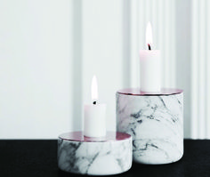 Marble Candle Holder Chunk of Marble Collection by MENU and designed by Andreas Engesvik Copper And Marble, White Marble, Marble Quartz, Marble Wood, Marble Collection, Copper Candle Holders, Candlestick Holders, Candleholders, Candlesticks