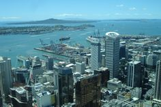 A beautiful panoramic view of Hauraki Gulf and its islands, from the observation deck of Auckland Tower