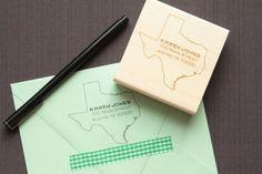 Texas State Address Stamp  Personalized Address by TriElegance