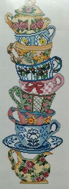 Coffee / Tea Cups Counted Cross Stitch Kit Candamar Designs Floral Teacups #CandamarDesigns #CountedCrossStitchKit