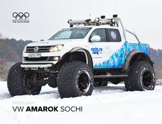 This jacked up Polar Expedition edition Volkswagen Amarok pickup was used to promote the Olympics in rural areas of Russia. Volkswagen Amarok, Auto Volkswagen, Vw Amarok, Jeep 4x4, Jeep Truck, Lifted Trucks, Pickup Trucks, Tanzania, E90 Bmw