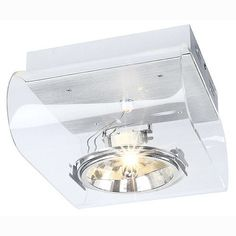 The Retrosix QRB 1 Clear Ceiling Spotlight in a Retro Style has a Clear Finish with Brushed Aluminium Metal Work. SLV 147581