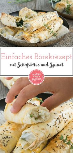 Simple recipe for delicious Börek with spinach and feta cheese. The Turkish Börek is prepared with finished Yufka dough. Turkish Recipes, Raw Food Recipes, Snack Recipes, Cooking Recipes, Spinach Bake, Spinach And Feta, Menu Dieta, Baking With Kids, Vegan Snacks