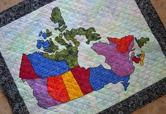 PDF Pattern Canada Patchwork Map Quilt Pattern from Quilts by Elena Full Sized Templates and Clear Instructions Cat Applique, Applique Quilts, Quilt Block Patterns, Quilt Blocks, Quilting Projects, Sewing Projects, Quilting Tips, Sewing Ideas, Canadian Quilts