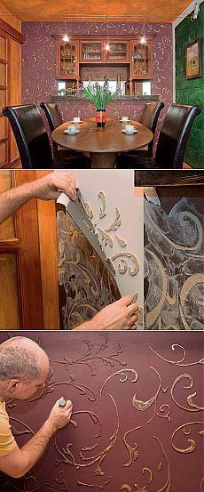 Estructura tridimensional de la pared.  Paso clase magistral de acabado interior.