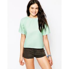 Motel Razma Structured T-Shirt in Mint Waffle ($20) ❤ liked on Polyvore