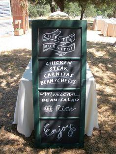 Love chalkboard menus! #ChipotleWeddingSweepstakes