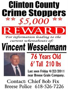 Vincent Wesselmann, Missing Breese Illinois, http://www.missingpersonsofamerica.com