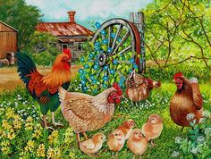 Chickens painting by Val Stokes
