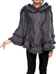 Womens Knitted Rabbit Fur Lined Cape Hooded Poncho Shawl Cloak Jacket Coat Finejo http://smile.amazon.com/dp/B00OZNIB04/ref=cm_sw_r_pi_dp_5Kxhwb0V7N190