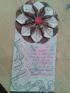 diy friendshipday card with paper flower and favicol art