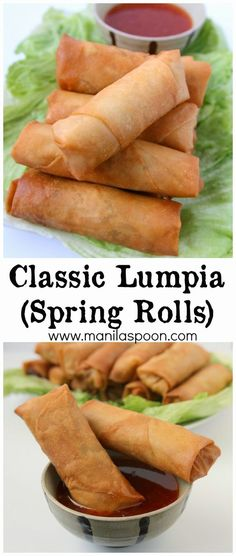 These crunchy and delicious spring rolls (Lumpia) are the perfect appetizers for Thanksgiving, Christmas, New Year or any holiday party and great for snacking, too. Fully vegetarian. #lumpia: Spring Rolls Vegan, Vegetarian Spring Rolls, Vegetarian Recipes, Cooking Recipes, Vegetarian Appetizers, Meat Appetizers, Filipino Appetizers, Italian Appetizers, Snacks