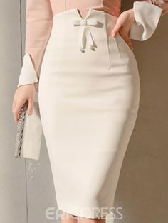 Bodycon Bowknot Zipper High Waist Women's Skirts - moda Girl Fashion, Fashion Dresses, Womens Fashion, Fashion Tips, Stylish Dresses, Fashion Brands, Style Fashion, Fashion Jewelry, Fashion Hacks