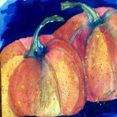 """""""Pumpkins"""" by Texas Watercolor Artist, Karen Scherrer"""