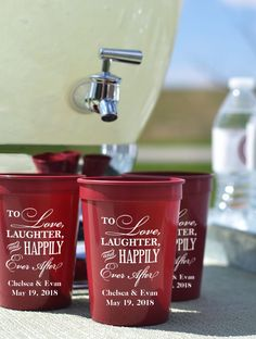 12 Ounce Shatterproof Plastic Stadium Cups Personalized With Choice Of Wedding Design And Up To 4