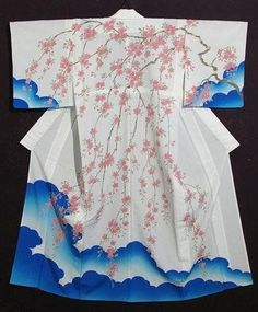Japan, houmongi with cherry blossom and clouds design