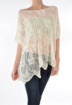 Ivory Crochet Tunic - Casual in soft Knit Crochet that drapes Feminine and Chic. Gilet Crochet, Crochet Tunic, Lace Tunic, Knit Crochet, Vetement Fashion, Mein Style, Cool Outfits, Fashion Outfits, Estilo Fashion