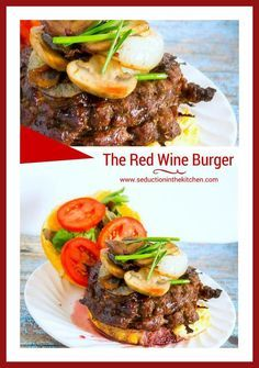 The Red Wine Burger is a gourmet Angus beef burger with a tunnel of swiss cheese inside, mushrooms and onions on top. Then it is finished with a red wine sauce. via @SeductionRecipe