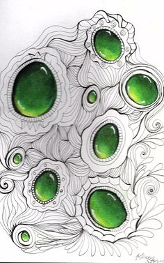 JPG file of green ZenGems with tangled background.